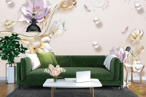 3Д барельеф Фотообои Керамичесике цветы с золотыми ножками