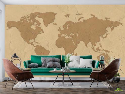Материковая карта Фотообои Стилизация континентальной карты