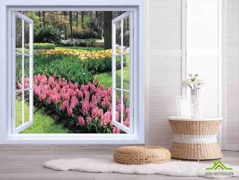 Вид из окна Фотообои Вид на цветы