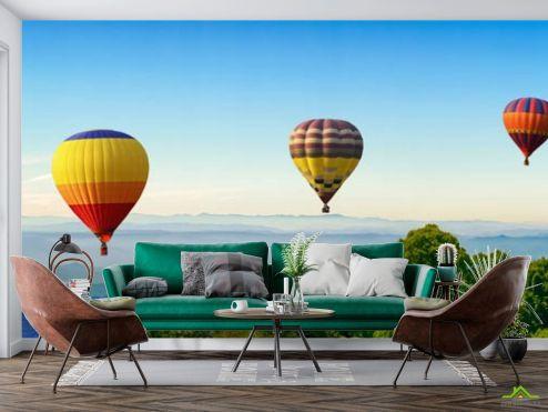 Природа Фотообои шесть воздушных шаров в горах