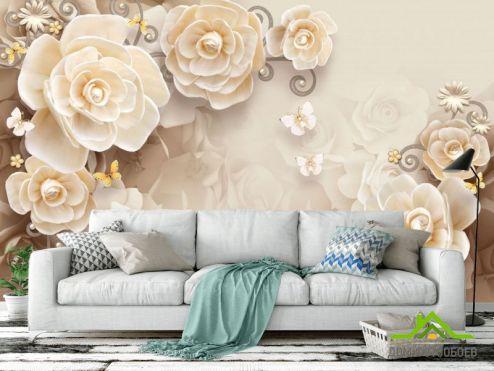3Д  Фотообои Цветы из керамики