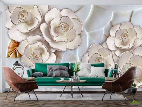 3Д  Фотообои Фарфоровые белые цветы
