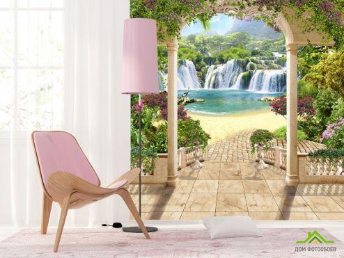 Фрески Фотообои вид с арки на водопад