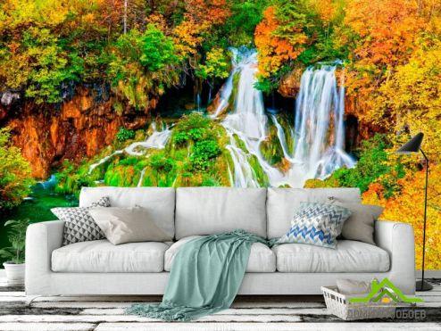обои Водопад Фотообои Два ручейка