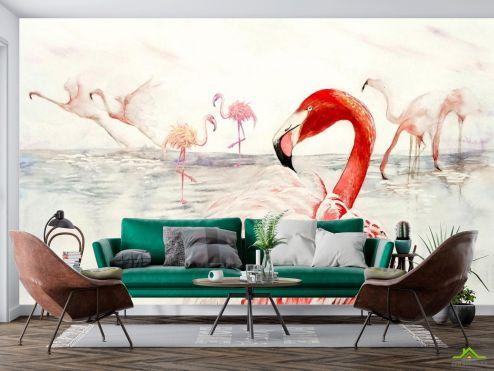 Животные Фотообои Стая розовых фламинго