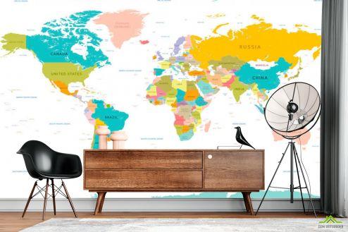 Синие  Фотообои Карта мира на английском