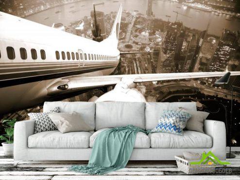 обои Транспорт Фотообои Крыло самолета