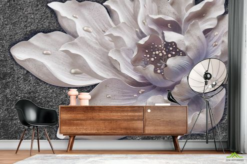 3Д барельеф  Фотообои Керамический цветок барельеф