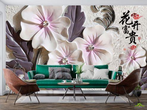 3Д барельеф Фотообои Барельефные керамические цветы
