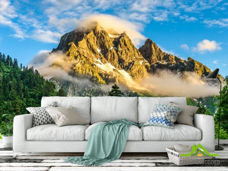 Фотообои горы в лесу