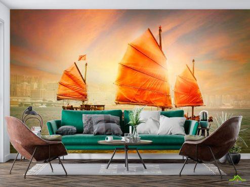 Оранжевые  Фотообои Корабль с оранжевыми парусами
