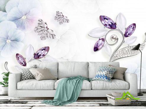 3Д  Фотообои Цветы из брошек