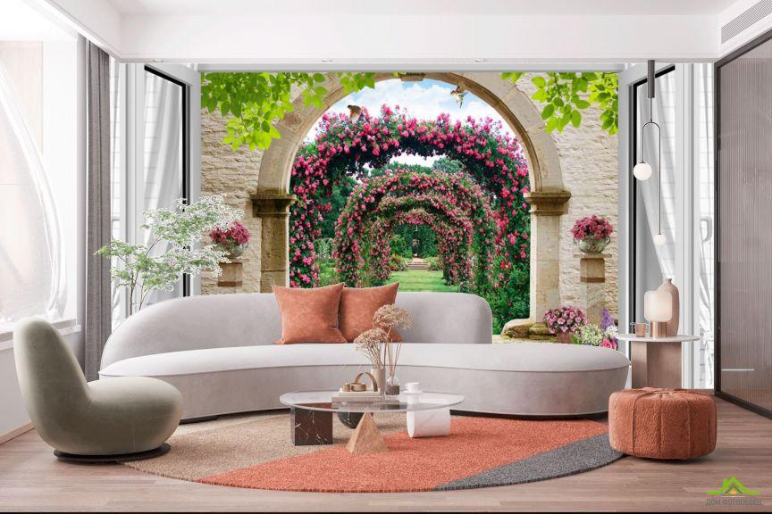 Фотообои  Вид из окна на сад с розами
