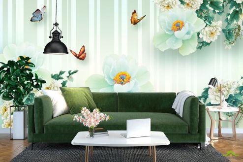 3Д  Фотообои  Салатовые цветы 3д