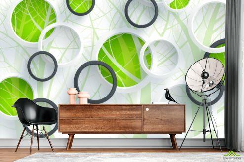 3Д  Фотообои Зеленые круги и дерево