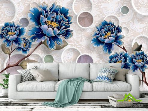 3Д  Фотообои  Цветы синие обьемные
