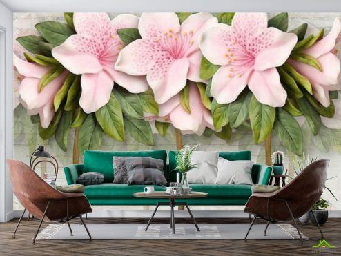 3Д барельеф Фотообои Розовые цветы