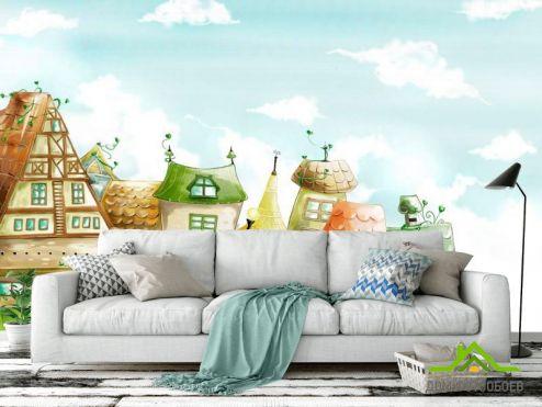 Зеленые обои Фотообои Город и облака