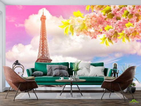 Париж Фотообои розовое небо в Париже