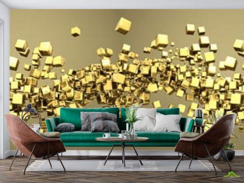 3D объемные Фотообои Золотые 3d квадратики