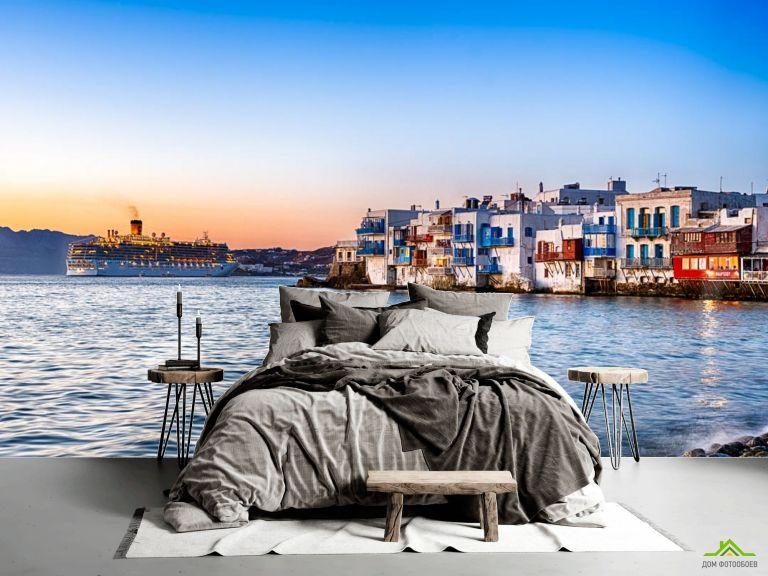 Фотообои пароход на берегу вечернего моря