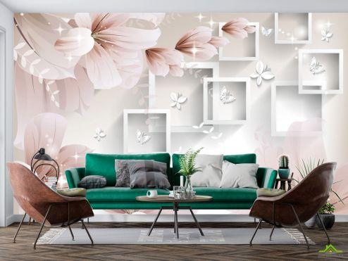 стереоскопические Фотообои  Абстрактные обьемные цветы купить
