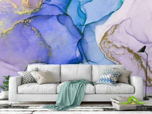 Каменная стена Фотообои Фиолетовый флюид арт
