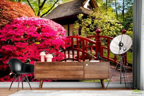 Розовые деревья Фотообои Дом, цветы, мост