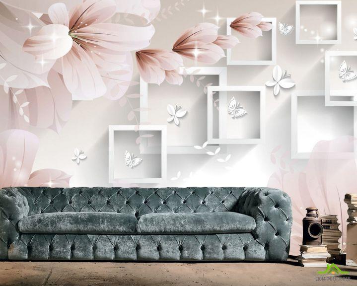 Фотообои  Абстрактные обьемные цветы