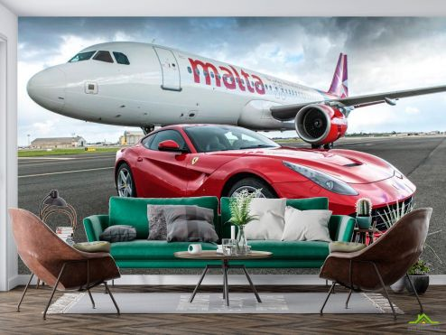 Самолеты Фотообои Самолет и автомобиль