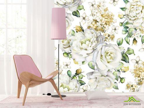 обои Цветы Фотообои белые розы на белом фоне