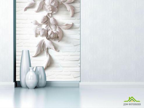 3Д  Фотообои Гипсовые цветы вертикальные