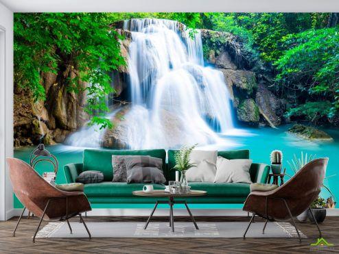 Фотообои Природа по выгодной цене Фотообои водопад и бирюзовое озеро