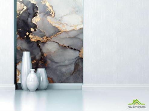 Fluid art Фотообои Флюид чб с золотом купить