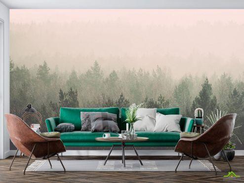 в скандинавском стиле Фотообои лес и розовый туман