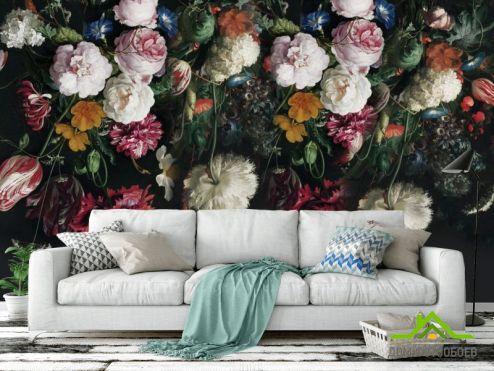 обои Цветы Фотообои Винтажные цветы на черном