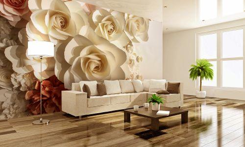 Фотообои в интерьере гостиной с фото - Фотообои 3D  бумажные розы