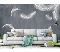Фотообои Белые перья на сером