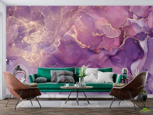 Fluid art Фотообои Фиолетовый флюид с золотом
