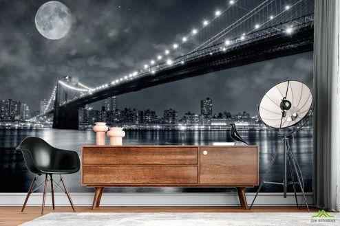 ночной город Фотообои Мост и луна, New York