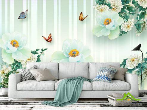 обои цветы 3d Фотообои  Салатовые цветы 3д