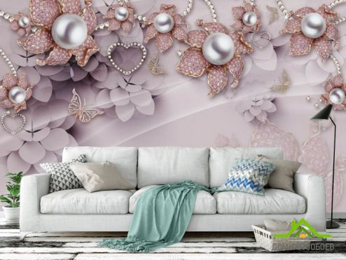 3Д   3д фотообои Розовые брошки