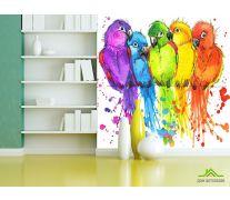 Фотообои пять разноцветных попугаев рисунок
