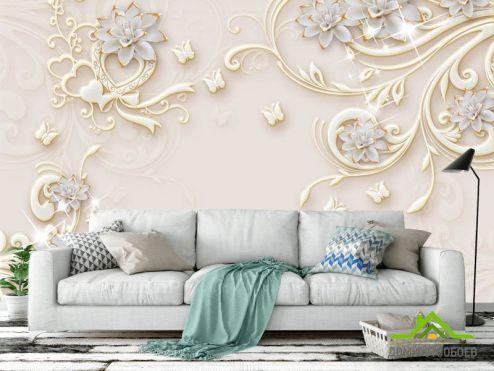 обои 3D барельеф  Фотообои Керамические цветы с узорами