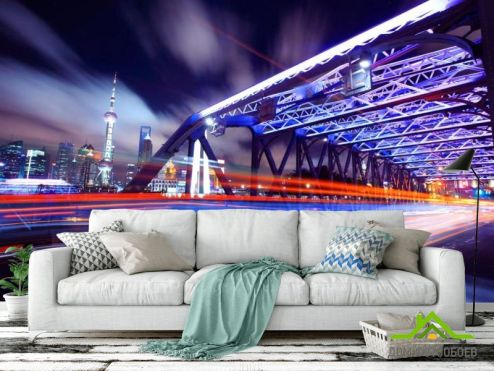 Нью Йорк Фотообои Ночь, под мостом, Нью Йорк