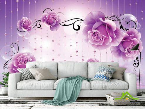 Каталог фотообоев Фотообои Фиолетовые 3d цветы