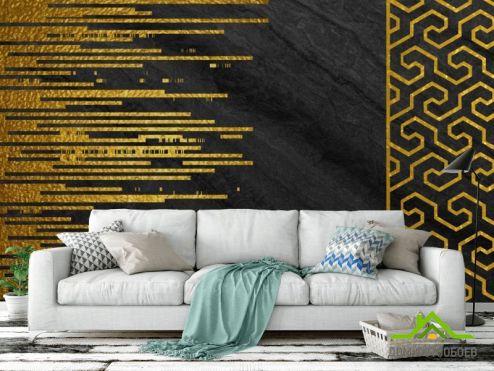 Абстракция Фотообои Стена с золотыми полосками купить