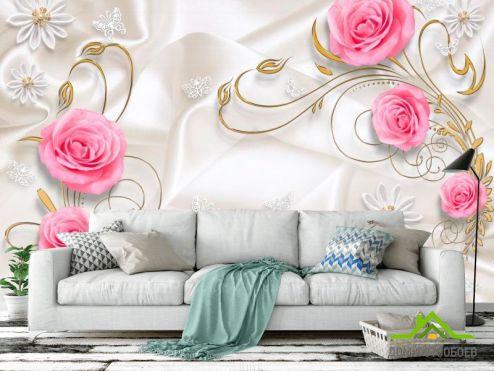 Белые  Фотообои Цветы