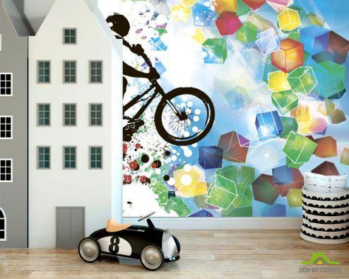 Фотообои детские по выгодной цене Фотообои Велосипедист и геометрия