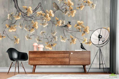 Восточный стиль Фотообои Гинкго и птицы